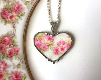 Antique French porcelain broken china jewelry heart pendant necklace pink roses