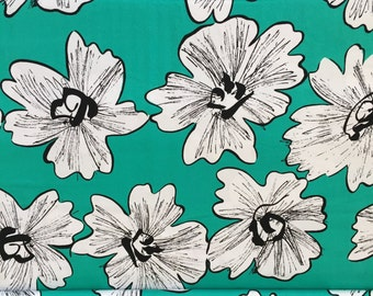 "80s Bubbly Tahiti Blue Tropical Print//Big White/Black Blooms//Designer ""Thompson of California""//All Cotton//BTY ByTheYd"