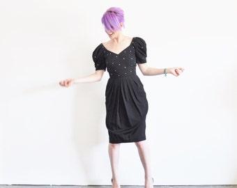 geometric cut out puff sleeve dress . rhinestone gem bodice .extra small.xs .sale