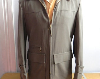 Vintage 1940s Mens Gab Jacket - 40s 50s Grey Hollywood Style Rockin Jacket - on sale