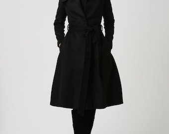 Black Women's Coat - Warm Wool Blend Classic Style Knee-Length Lined Fitted Coat Designer Womens Outerwear (1103)