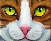 Original Tabby Cat Face Macro Portrait Acrylic Painting