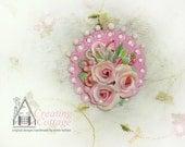 SECRET SALE Half Price Pink Circle Hot Pink -   Furniture Applique  -  Dollhouse Miniatre Artwork  -  Brooch  -  Pin