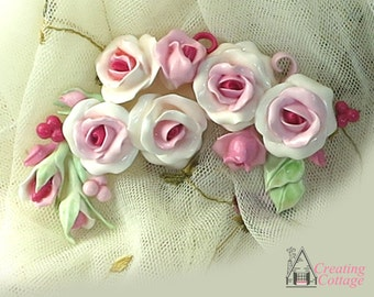 Handmade Rose Applique - Rich Pink Roses