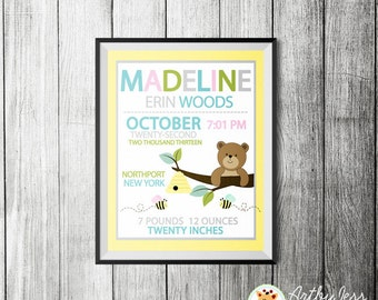 Honey Bear and Bumble Bee Girl Birth Announcement Print, New Baby Girl Gift - Baby Shower Birth Print (Yellow/Teal/Pink)