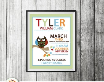 Cute Owl in Tree Tops Birth Announcement Print, Personalized Baby Gift (Design 10b)