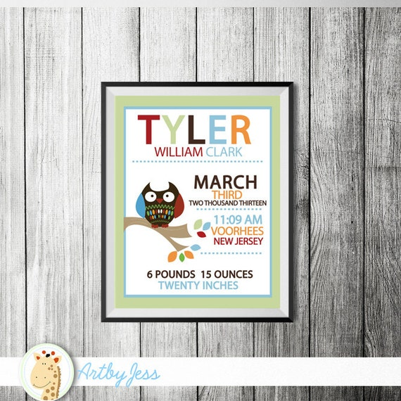 Cute owl in tree tops birth announcement print personalized baby il570xn negle Images