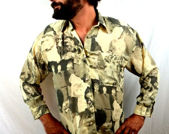 Fun Vintage Oversized 1980s 80s Photo Print Button up Shirt