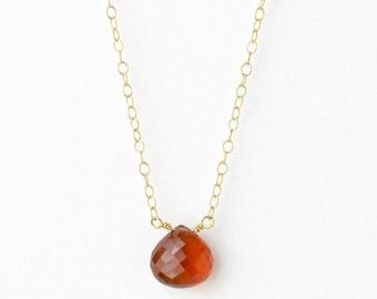 Spessartite Garnet Necklace / Burnt Orange Necklace / Rust Orange Necklace / Orange Gemstone Necklace / Orange Garnet Necklace / 16 Inch