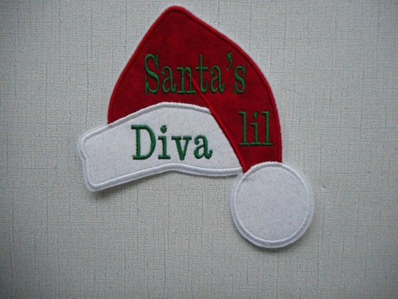 Ready to Ship  SANTA hat    Lil DIva   Fabric Iron  On applique     Free Shipping