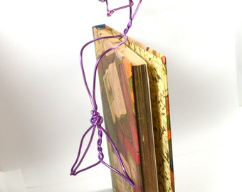 Lavendar Reading Mermaid - bookshelf mermaid , wire sculpture sits on shelf reading a book - pink purple