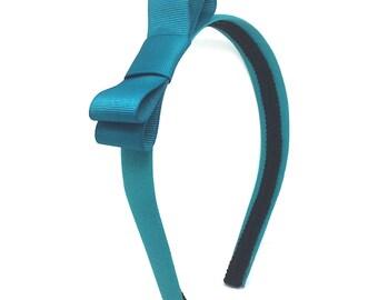 Teal Bow Headband - Bow Headband - 3/4 Inch Headband - Blair Waldorf Inspired Bow Headband for Girls or Adults - Teal Headband with Bow