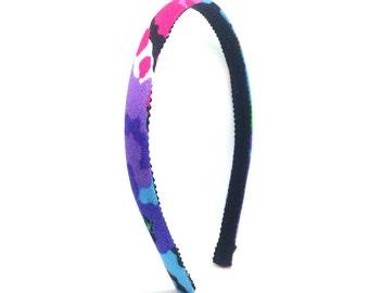 Skinny Headband - Colorful - Splashes of Fuchsia, Purple, Turquoise - Back to School Headband - Little Girls Headband, Adult Woman Headband