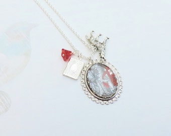 the little red riding hood necklace  silvertone