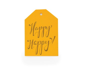 Happy Happy - set of 6 letterpress tags