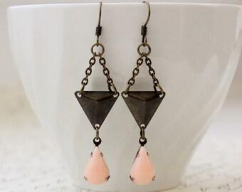 Peach Modern Geometric Earrings. Triangle.