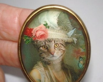 Cat Hat Flower Animal  Brooch