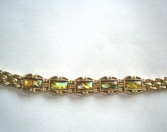 Abalone Bracelet  Gold Tone