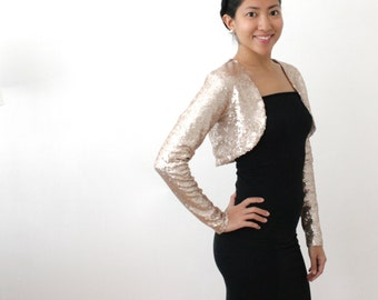 SALE - Long Sleeve Bridal Bolero, Champagne Gold Bolero, Gold Sequin Bridal, Sequin Bridal Shrug, Modest Bride, Winter Formal Shrug - SALLY