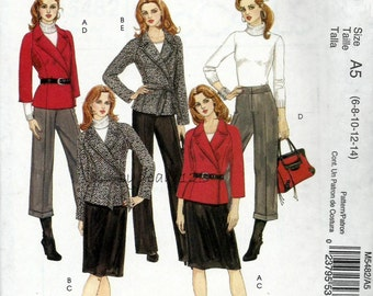 2007 Wardrobe Pattern Lined Wrap Jacket & Belt Skirt and Pants McCall's 5482 Bust 30.5 to 36 UNCUT