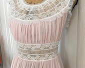 Gorgeous Vintage 50's Sheer Nylon and Lace Night Gown -- Vintage Wedding  Size S
