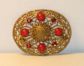 Vintage Gold Plated Filigree Red Glass Rhinestone Brooch Pin (B-4-1)