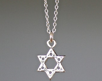 Star of David Necklace - Judaica Jewelry - Silver Star Charm - Star of David Jewelry - Bali Silver Necklace - Bat Mitzvah Gift - Small Gift
