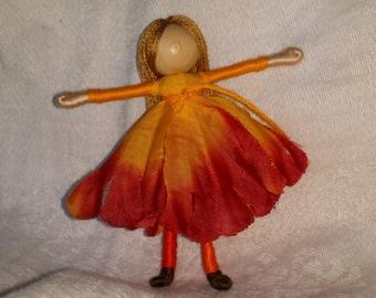 Red and Orange, Blonde, Waldorf Flower Fairy, art doll, bendy doll, worry doll, pocket pal, ooak