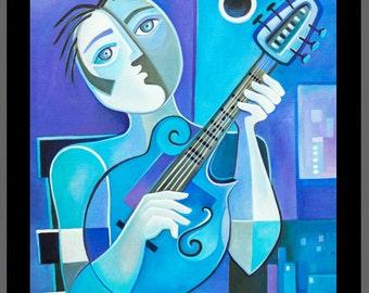 Cubist Painting Abstract Original Oil canvas Modern Art Mandolinist Marlina Vera Fine Art Gallery Picasso Style Artwork modernist Cubism