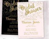 Gold Foil and Flitter Bridal Shower Invitation, Modern Gold Glitter Bridal Shower, custom color, script font – digital or printed (BBS-338)
