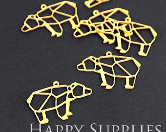 Quality Upgrade - Exclusive - 10pcs Raw Brass Bear Charm / Pendant, Fit For Necklace, Earring, Brooch (RD078)