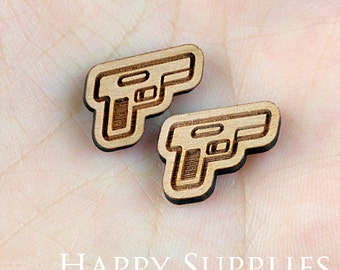4pcs (SWC126) DIY Laser Cut Wooden Gun People Charms