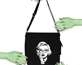 Voodoo Sugar Marilyn Monroe in Cat Eye Glasses Tribute Black Messenger Bag