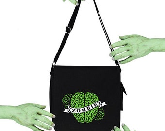 Voodoo Sugar Zombie Brain Heart Tattoo With Scroll Black Messenger Bag