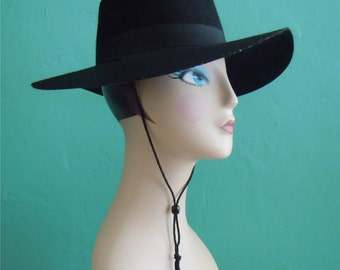 vintage black felt wide brimmed hat