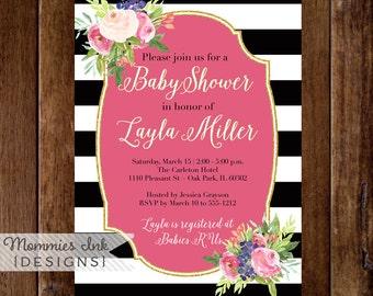 Watercolor Blossoms Bridal Shower Invitation, Black and White Stripes Invitation, Watercolor Pink Roses,Gold Glitter Invitation, Pink Invite