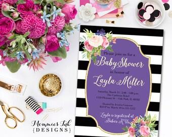 Watercolor Blossoms Bridal Shower Invitation, Black and White Stripes Invitation, Watercolor Pink Roses,Gold Glitter Invitation, Purple
