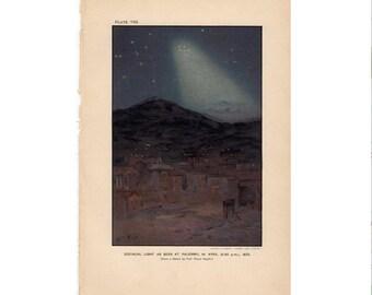 1897 ZODIAC LIGHTS original antique celestial astronomy print