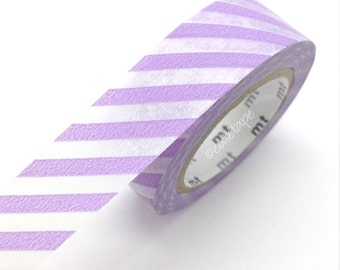 Diagonal LILAC Stripe Washi Tape Japanese MT Orange Masking Tape - Pretty Tape