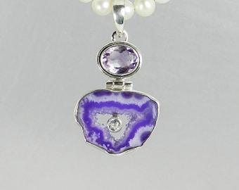 Purple Druzy Pendant, Amethyst Pendant, Geode Pendant, Druzy Necklace, Hinged Pendant, Agate Slice Necklace, Druzy Slice