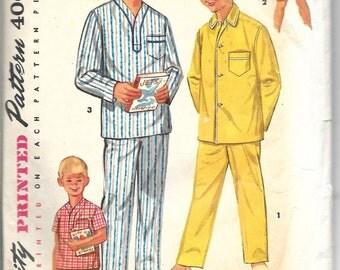 SIMPLICITY 1434 Size 14 Boy's Pajamas Pants Shorts Shirt Vintage 1950's Pattern