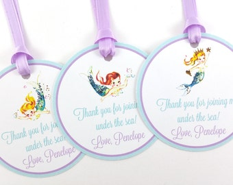 Mermaid Party Favor Tags, Mermaid Birthday Favor Tags, Vintage Mermaid Party, Mermaid Favor Tags, Mermaid Party Decorations - SET OF 12