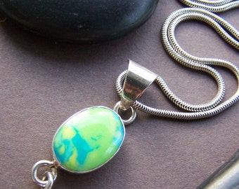 Vintage Pendant Necklace - Bezel Set Glass in Sterling Silver
