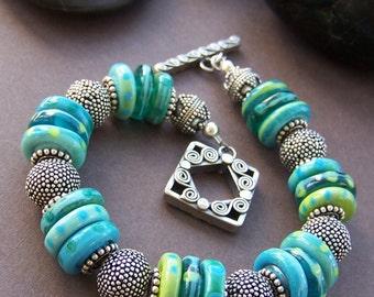 Beachside - Lampwork Glass Bead with Ornate Sterling Silver Bracelet