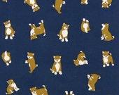 Japanese Tenugui Cotton Fabric, Kawaii Shiba Inu, Dog Design, Blue,  Hand Dyed Fabric, Animal Print, Modern Art Fabric, Home Decor, h043