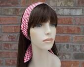 Red Headband, White Headband, Houndstooth Headband, Red and White, Reversible headband, Wired Headband, Teen Headband,Tween Headband