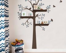 Wall Decals Baby Nursery Decor: New Style Shelving Tree by Simple Shapes - Nursery Wall Sticker Decoration Tree with Shelves Outline Leaves