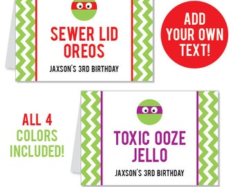 INSTANT DOWNLOAD Turtle Birthday Party / Ninja Party Buffet Cards - Editable Printable File