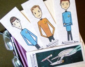 Star Trek Bookmarks - set of 4 - STTOS Kirk Bones Spock Enterprise