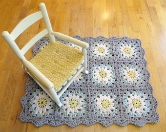 nursery rug - daisy flower recycled crochet granny square gray, turquoise, yellow